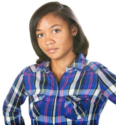 21984834 - doubting young woman in flannel shirt over isolated background