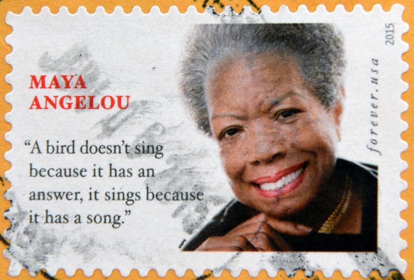 UNITED STATES OF AMERICA - CIRCA 2015: A stamp printed in USA shows Maya Angelou, circa 2015